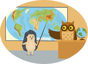Animals in school - hedgehog and owl clipart