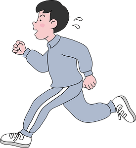 Boy is jogging for exercise clipart