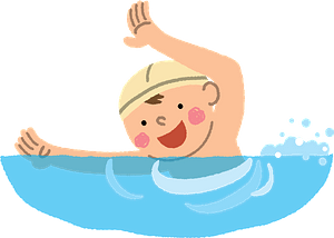 Boy is swimming in a pool clipart
