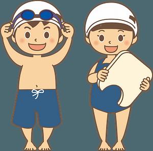 Children swimming clipart