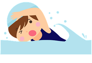Girl is swimming clipart