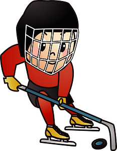 Ice hockey player is moving the puck clipart
