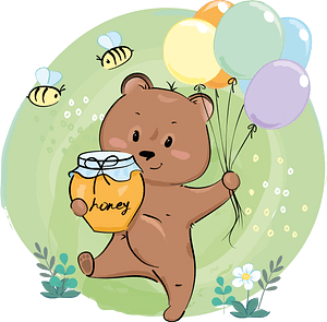 Cute bear with honey and balloons clipart