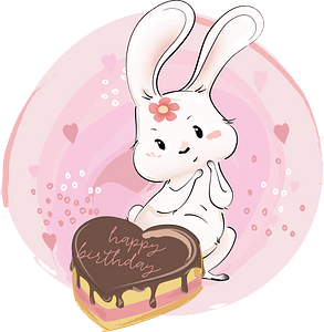 Cute bunny with her birthday cake clipart