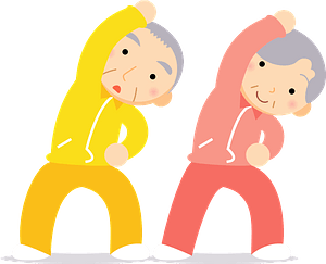 Old couple gymnastics clipart