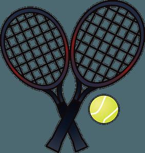 Tennis rackets and ball clipart