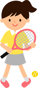 Girl is Playing Tennis clipart