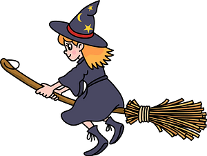 Witch is flying on her broomstick clipart