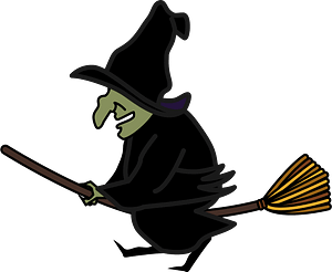 Witch is riding on her broomstick clipart