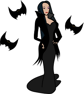 Woman Vampire and Bats clipart