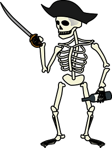 Skeleton pirate clipart