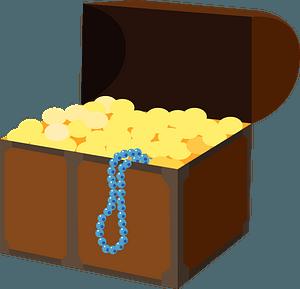 Treasure box of coins clipart