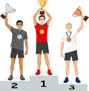 Trophy, medals and podium for 3 winners clipart