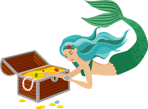 Mermaid and underwater treasure clipart