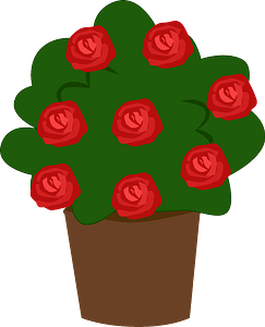 Pot with roses clipart