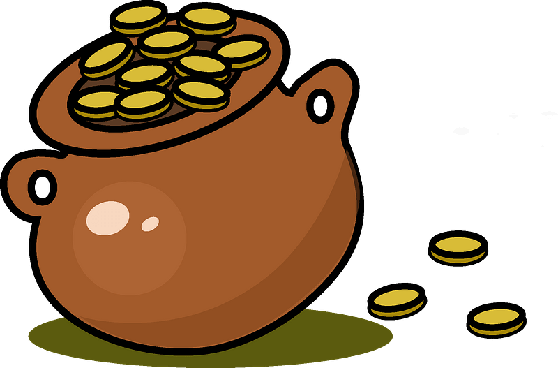 Pot with gold clipart