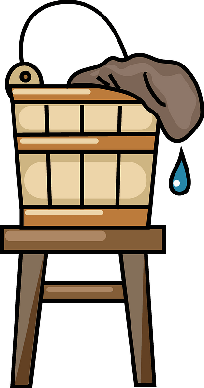 Wooden bucket on a stool clipart