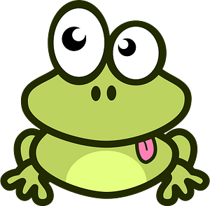 Cartoon frog showing tongue clipart