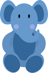 Blue Baby Elephant clipart