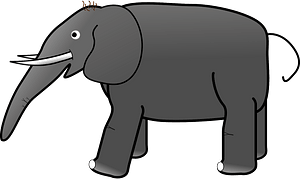 Grey elephant clipart
