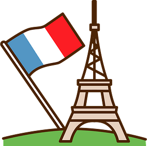 Eiffel tower and French Flag clipart