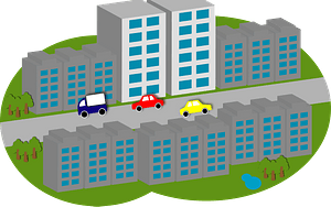 Buildings line both sides of street where cars are driving clipart