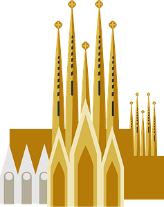 Sagrada Família Roman Cathedral - in Barcelona clipart