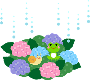 Rain is coming down on hydrangeas, frog, snail clipart