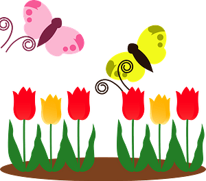 Butterflies are flying over the tulips clipart