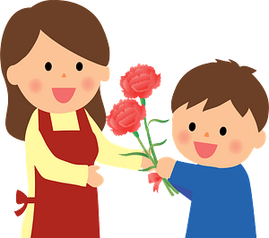 Child giving carnations for mother's day clipart