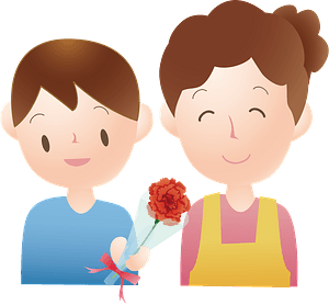 Son giving a carnation for Mother's Day clipart