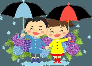 Rain hydrangea umbrella children clipart