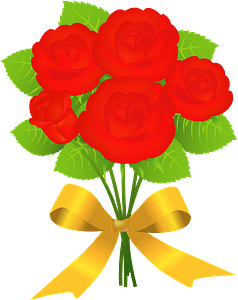 Rose Bouquet with a Gold Ribbon Bow clipart