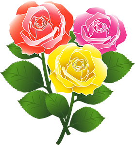 Red, Pink, and Yellow Roses clipart