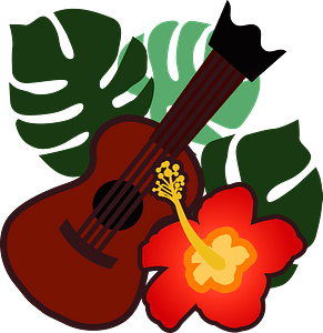 Ukulele and hibiscus from Hawaii clipart