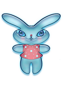 Blue bunny in a dress clipart