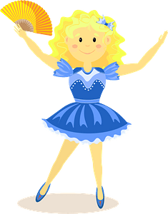 Girl dancing with fan clipart