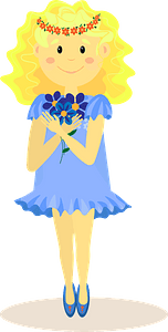 Girl with flowers clipart