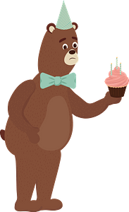 Bear happy birthday clipart