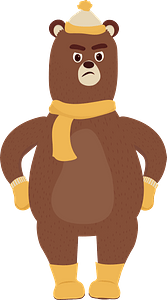 Bear in winter cloth clipart