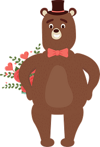 Bear with flowers in a date clipart