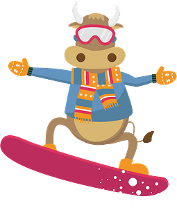 Bull on a snowboardのクリップアート