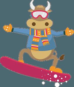 Bull on a snowboard clipart