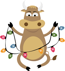 Bull with garland кліпарт