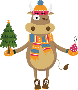 Bull with with a christmas tree and a toy кліпарт