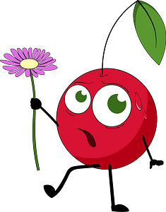 Cherry with flower clipart