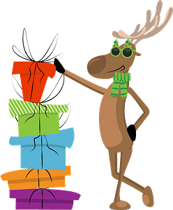 Deer with pile of presents clipart