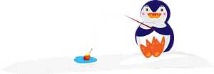 Penguin is fishing clipart