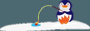 Penguin is fishingのクリップアート