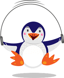 Penguin jumping rope clipart
